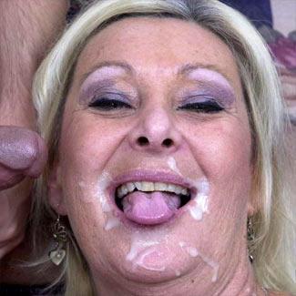 horny granny takes a major cumshot