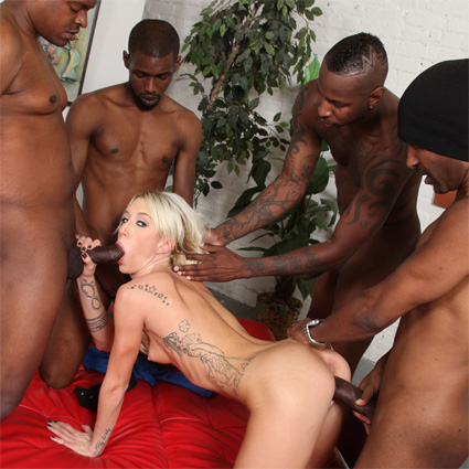 Busty blonde has many black