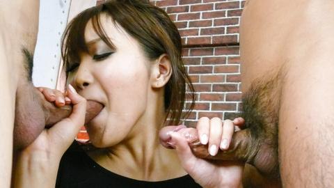Naughty Asian doll Miyu enjoys cum loaded threesome