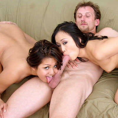 lucky guy gets his cock sucked by two hotties