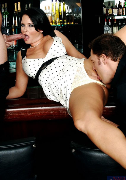 maya devine fucks a guy and the bartender too
