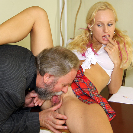 Teacher eats school girl pussy