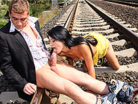 Horny babe gets banged on railroad tracks